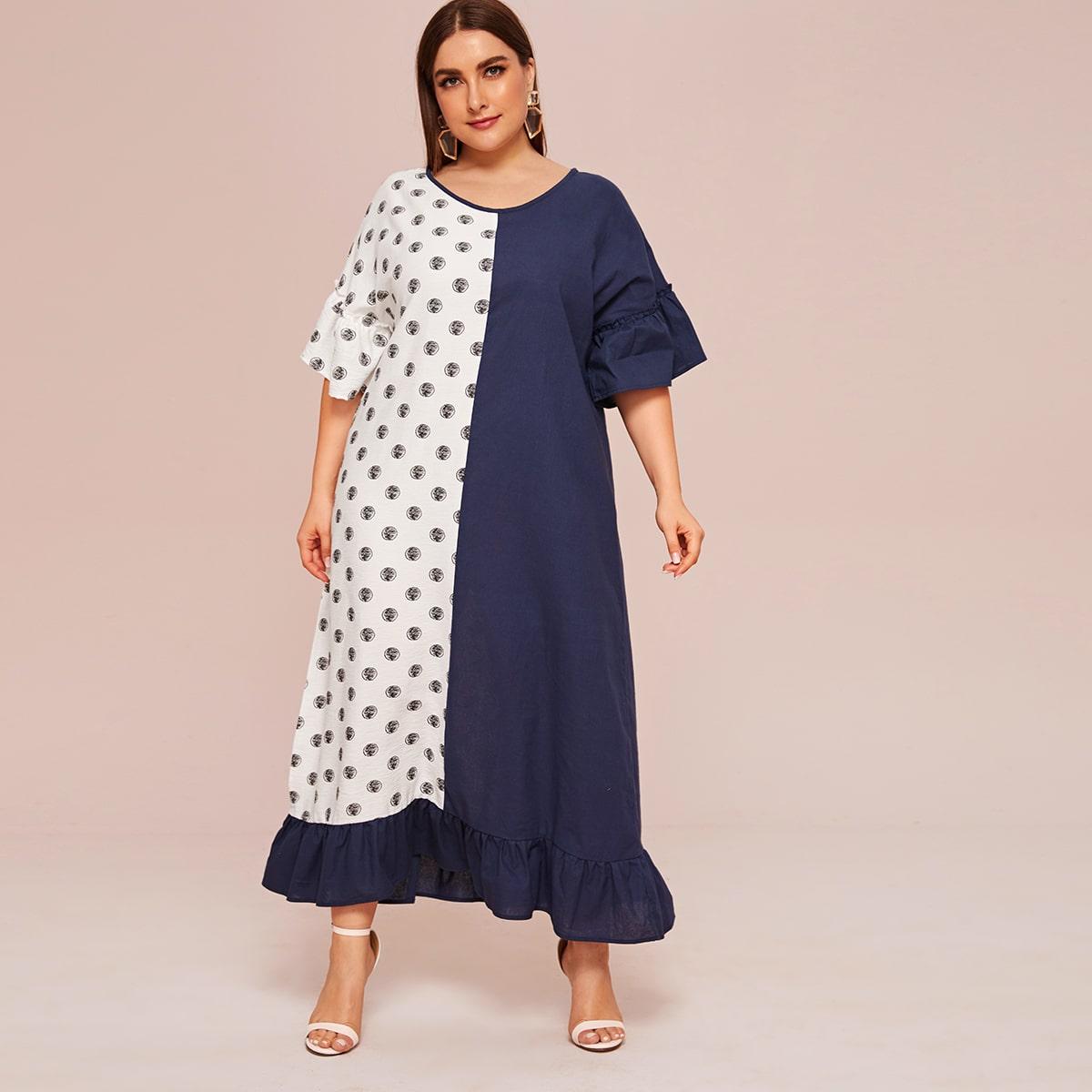 Контрастное платье размера плюс с оборками