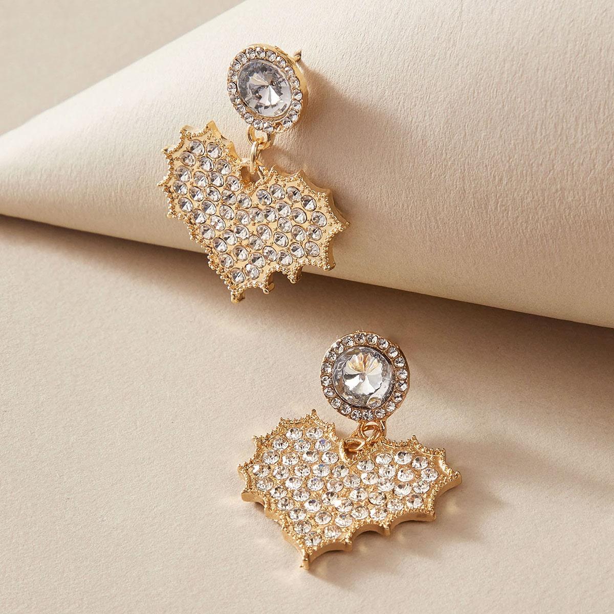 1pair Rhinestone Decor Heart Decor Drop Earrings