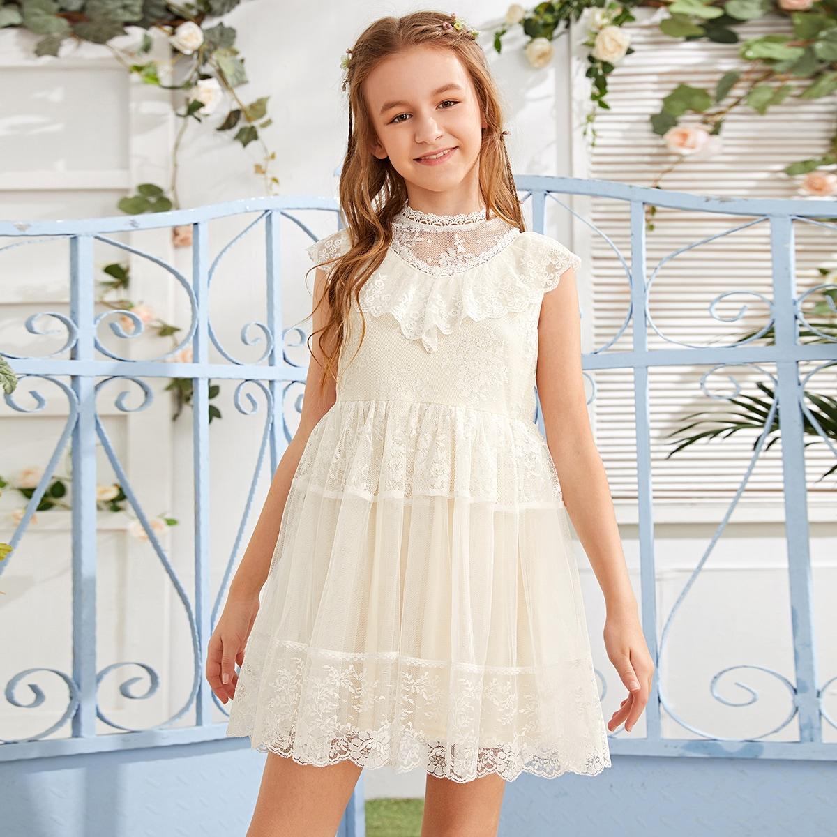 Кружевное и сетчатое платье с оборками и молнией для девочек
