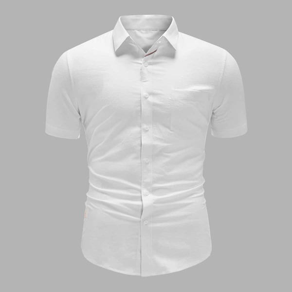 Men Patch Detail Button Front Shirt, White
