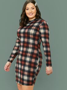 plus mock-neck tartan bodycon dress