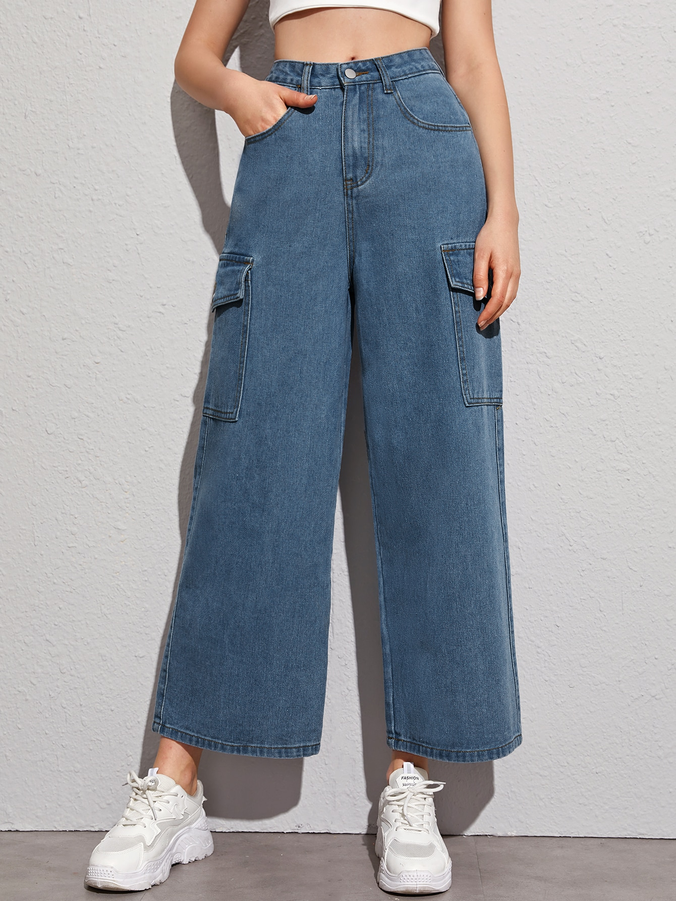High-Waisted Cargo Jeans thumbnail