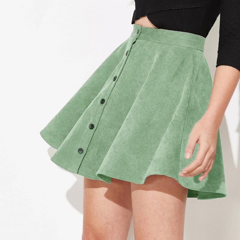 Button Up Flare Corduroy Skirt, Green pastel