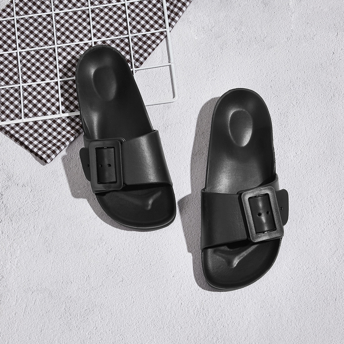 Buckle Front Open Toe Sliders