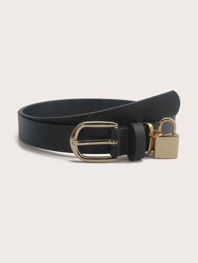 Lock Decor Metal Buckle Belt