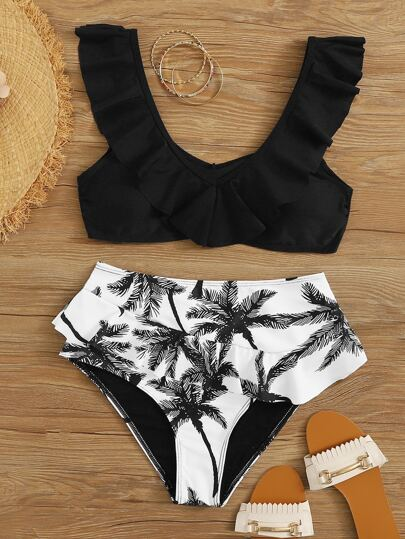 Palm Tree Print Ruffle High Waisted Bikini Swimsuit
