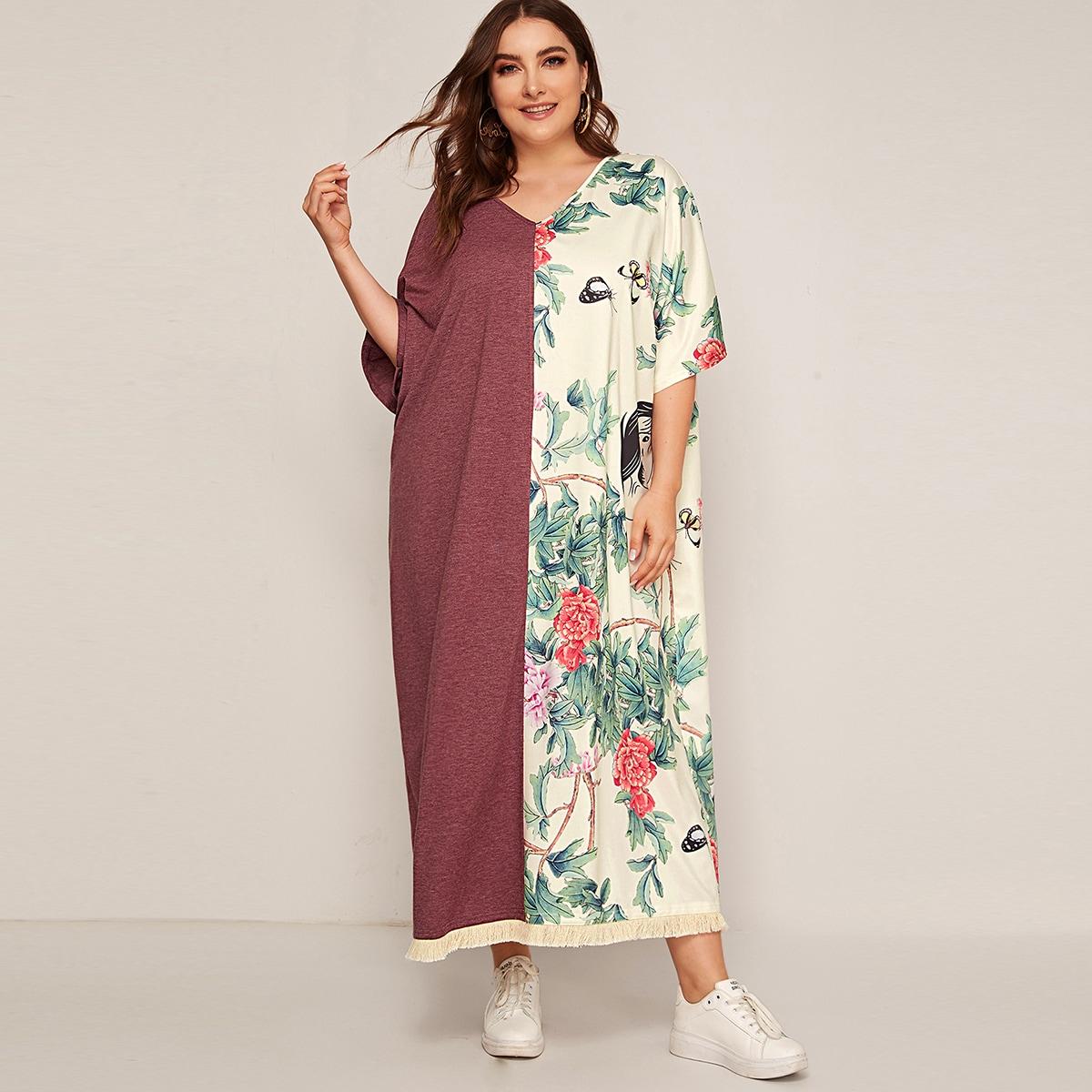 Цветочное контрастное платье размера плюс с v-образным вырезом