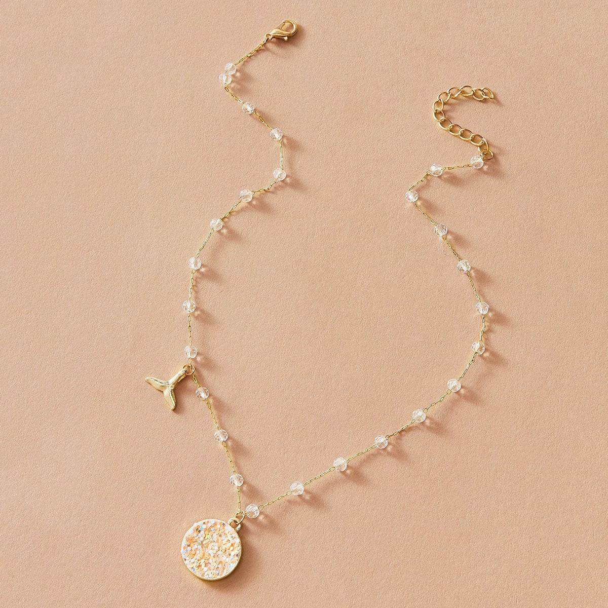 Halskette mit Fischschwanz Anhänger und Pailletten Dekor 1 Stück