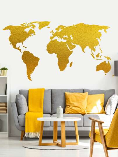 Abstract World Map Print Wall Sticker