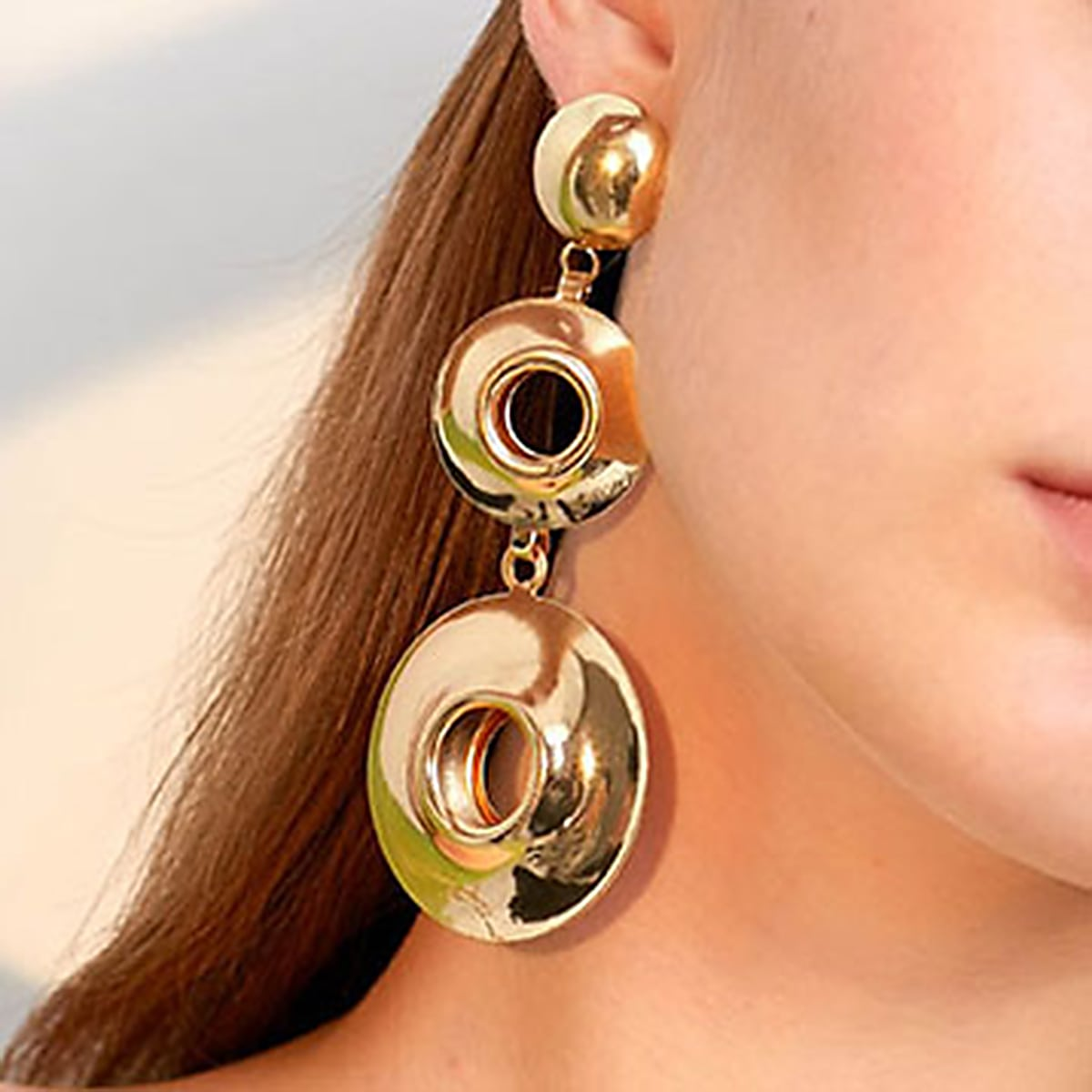 1 Paar Aushöhlen Runde Ohrringe