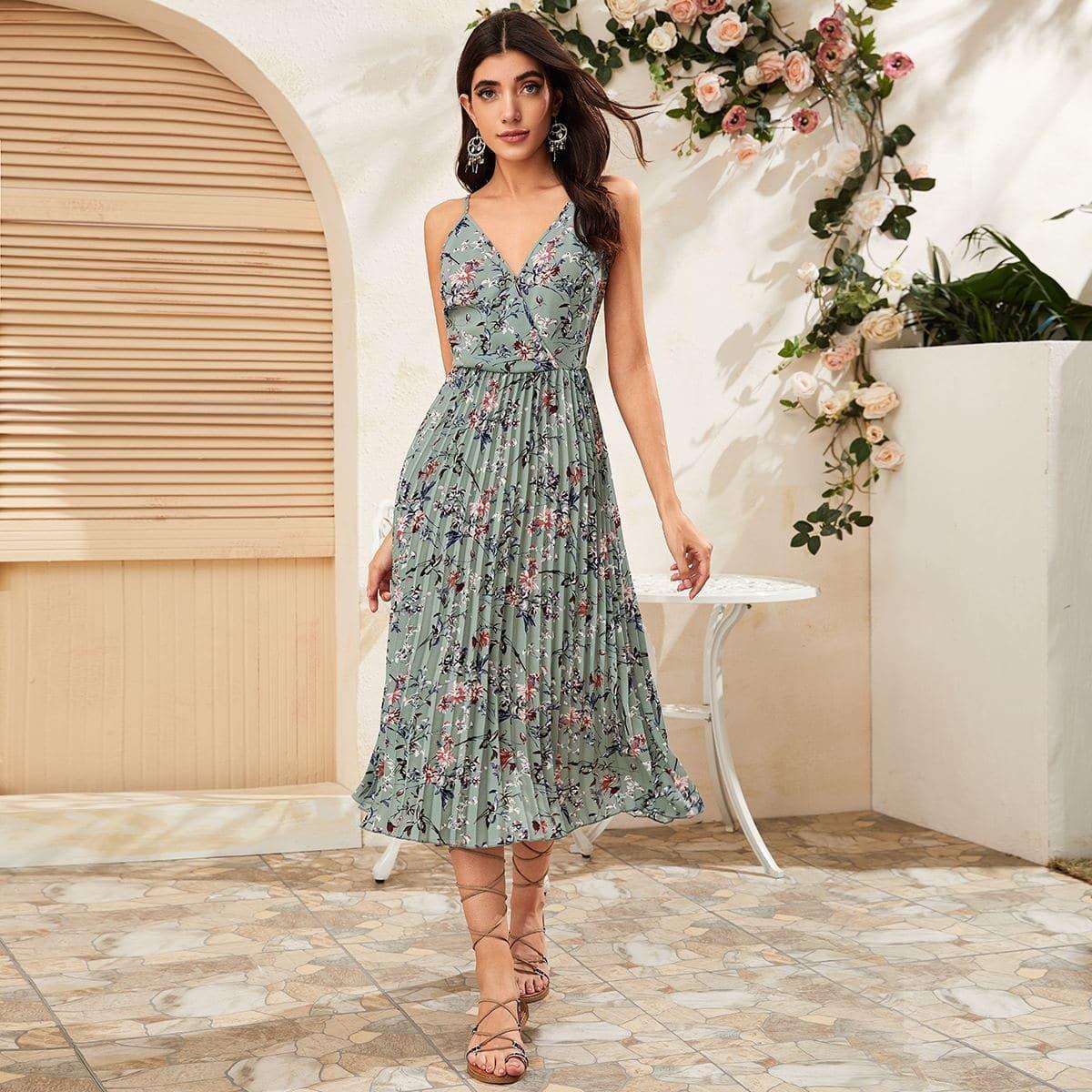 Плиссированное платье на бретелях с цветочным принтом