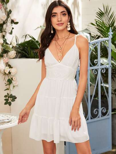 Swiss Dot Tie Back Cami Dress
