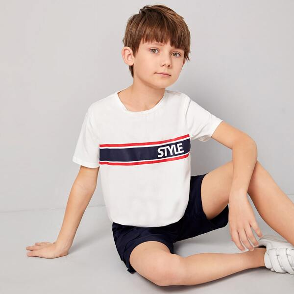 Boys Letter Graphic Striped Tee, White