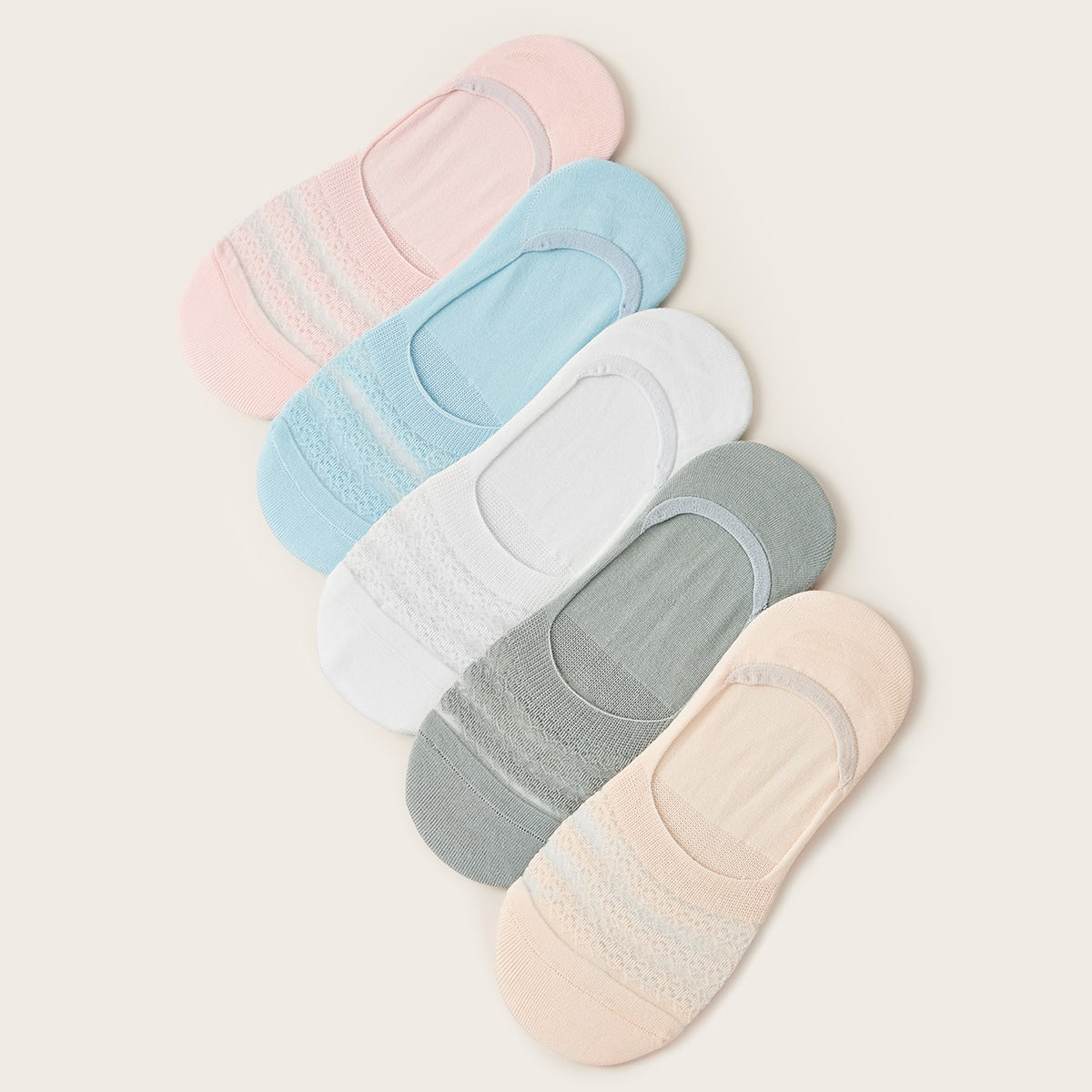 5pairs Contrast Mesh Invisible Socks