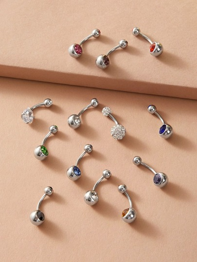 12pcs Rhinestone Engraved Random Color Belly Ring