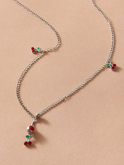 1pc Cherry Charm Chain Belly Ring