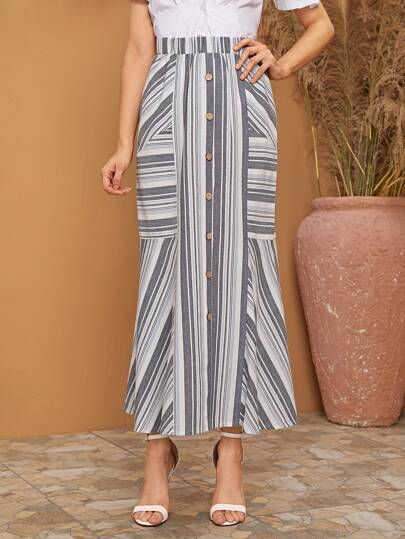 Button Front Striped Longline Skirt