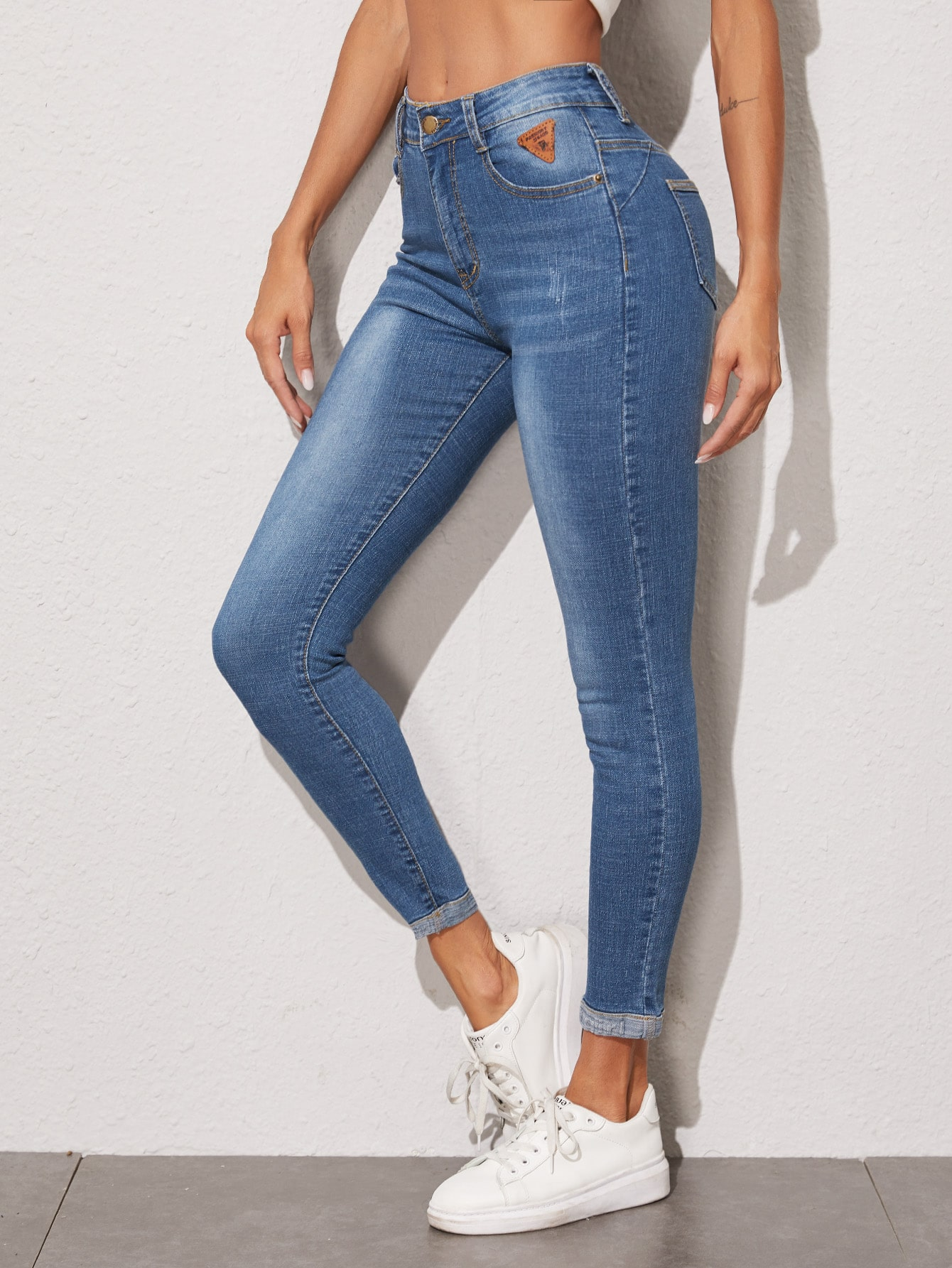 Stonewash Patched Detail Skinny Jeans thumbnail