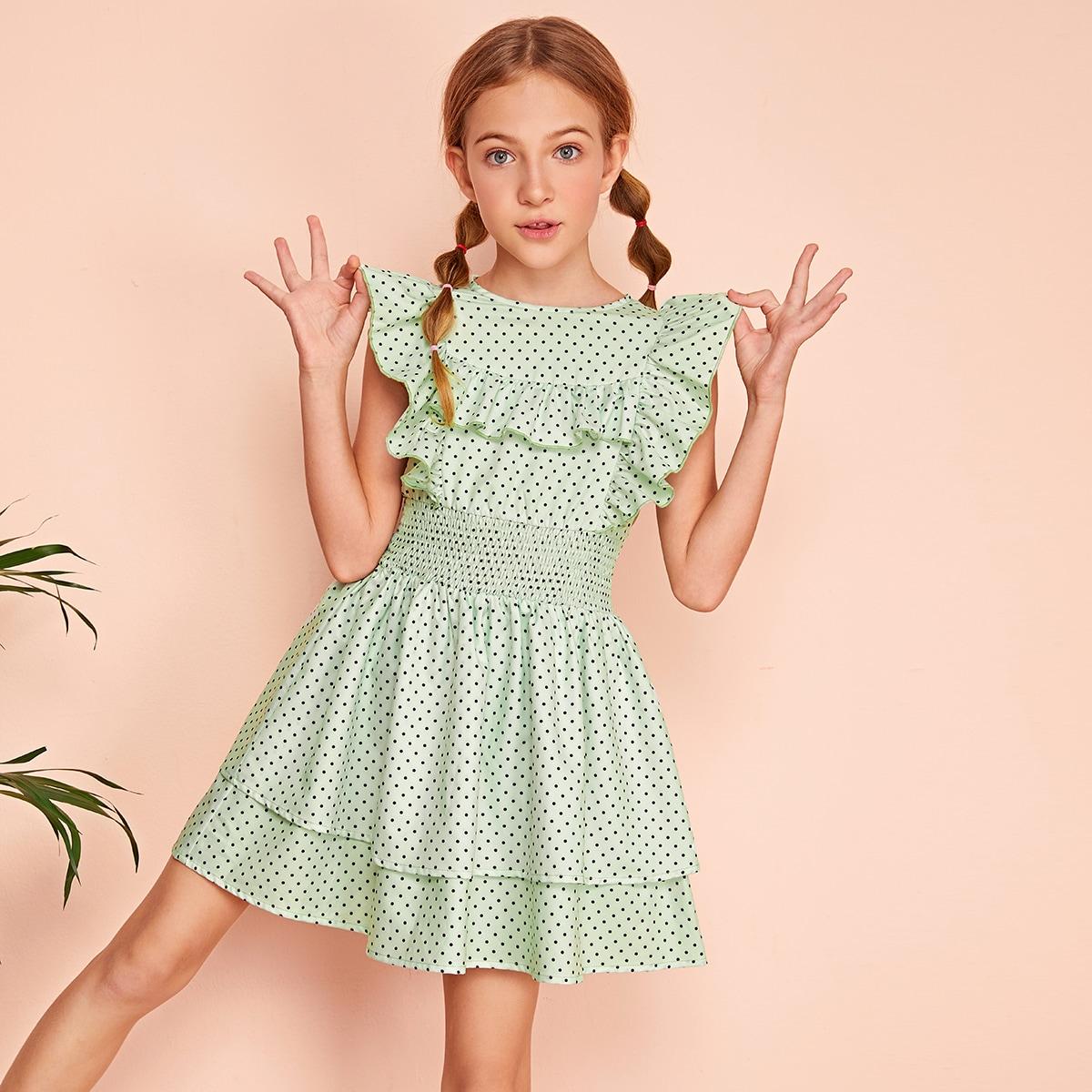 Платье с оборками и широкой талией для девочек