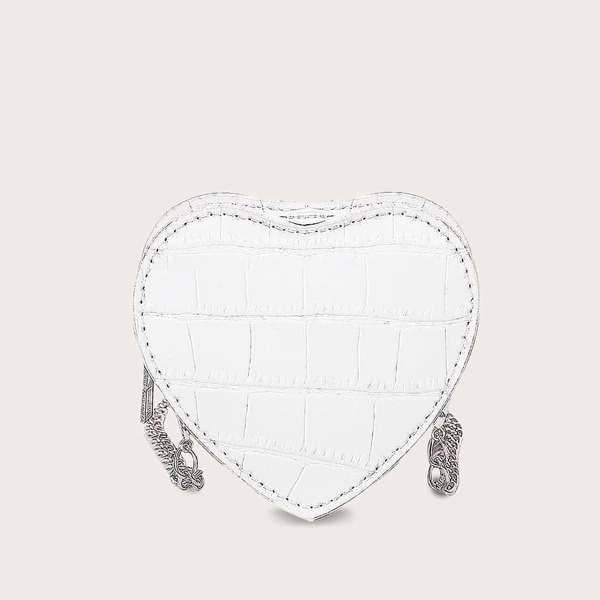 Mini Croc Embossed Heart Shaped Chain Bag, White