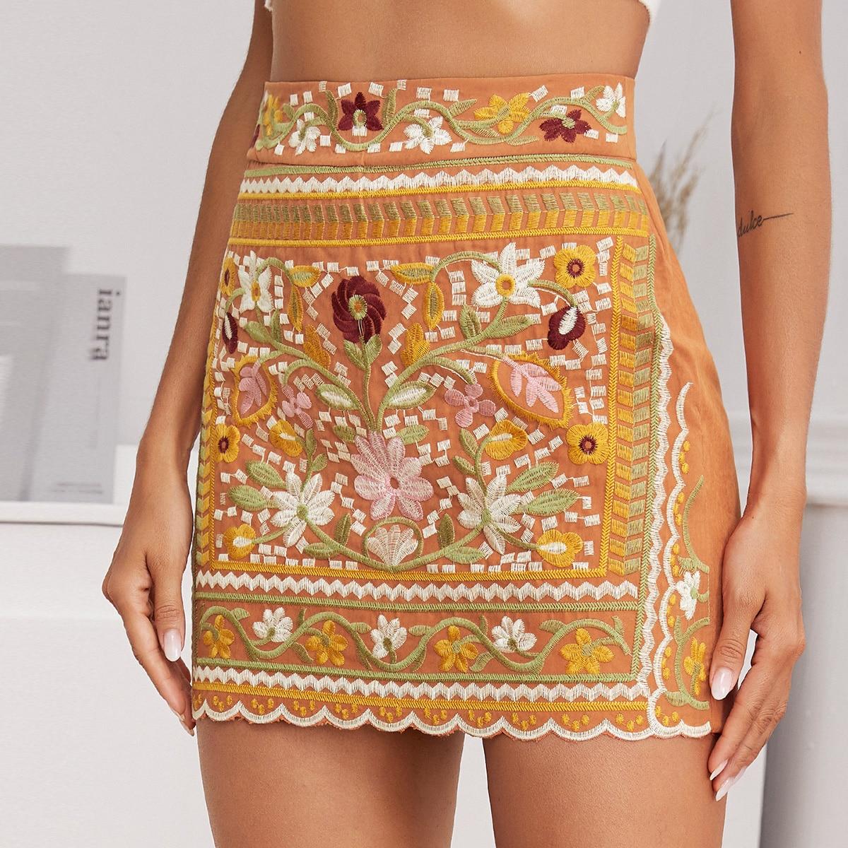 Scallop Hem Tribal Embroidery Skirt