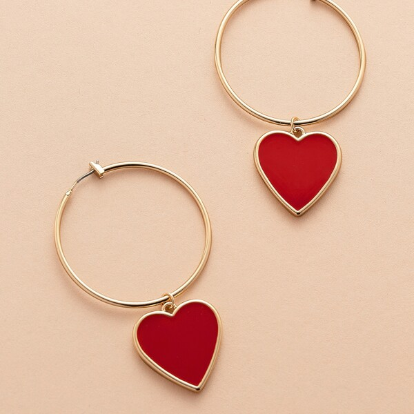 1pair Heart Charm Medium Hoop Earrings, Red