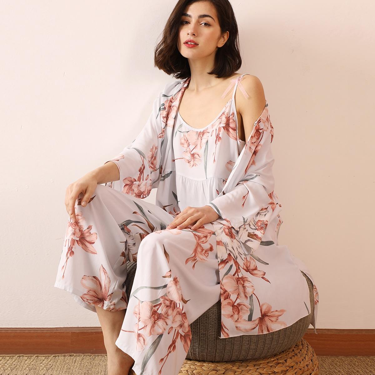 Халат и пижама с цветочным принтом 3шт