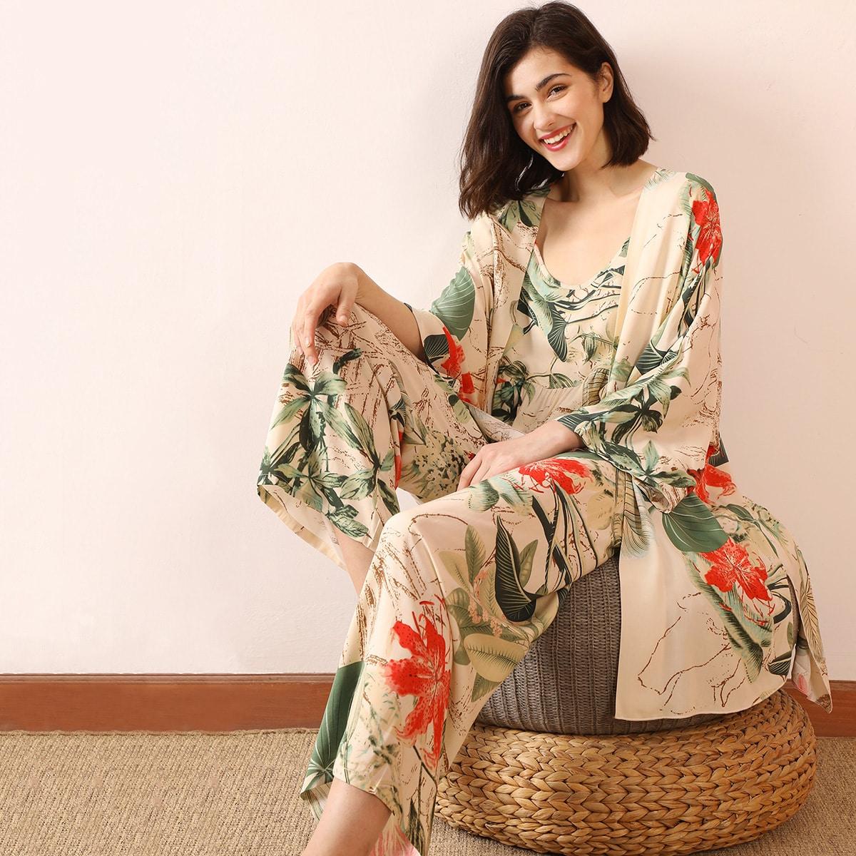 Халат и пижама с тропическим принтом 3шт