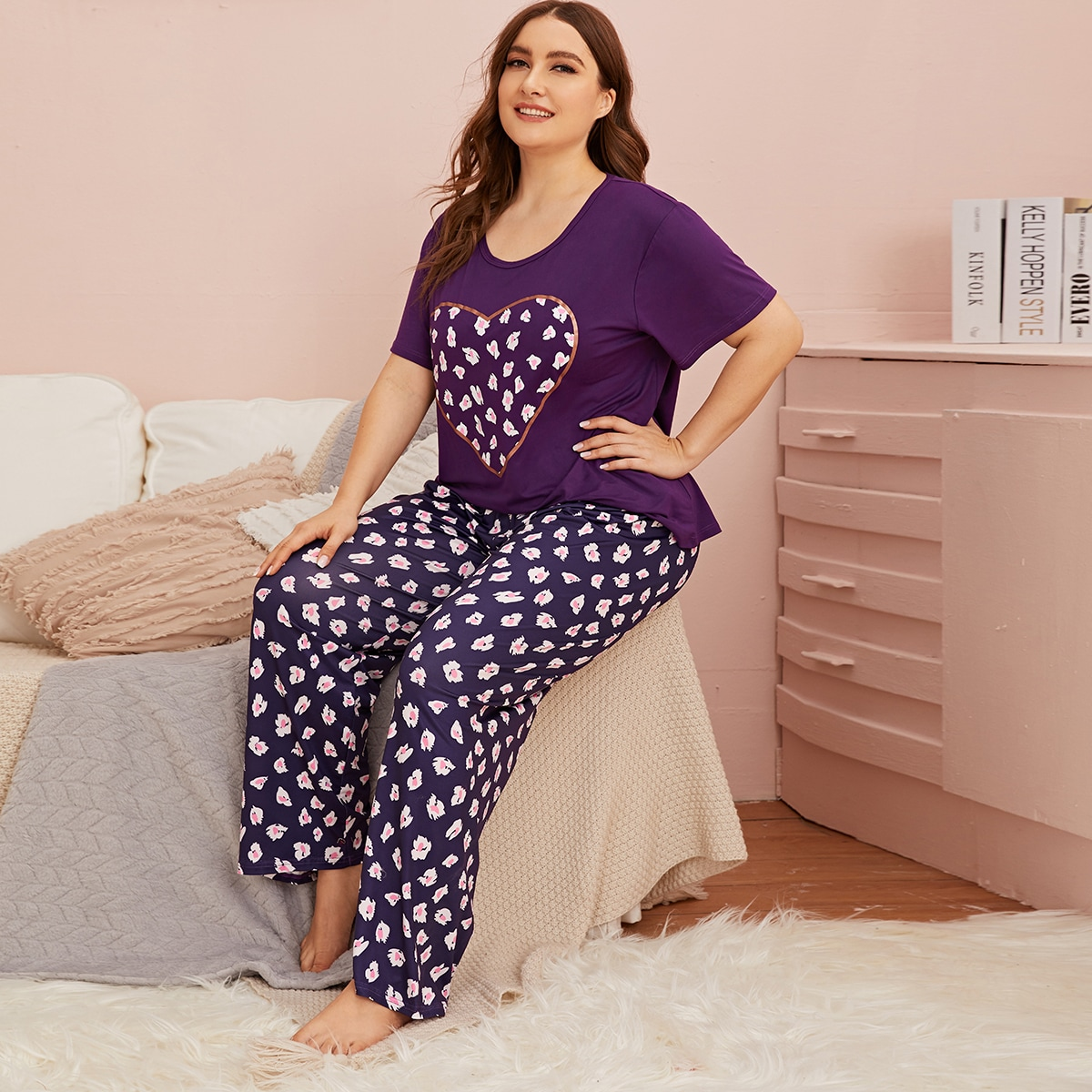 Plus Floral And Heart Print PJ Set