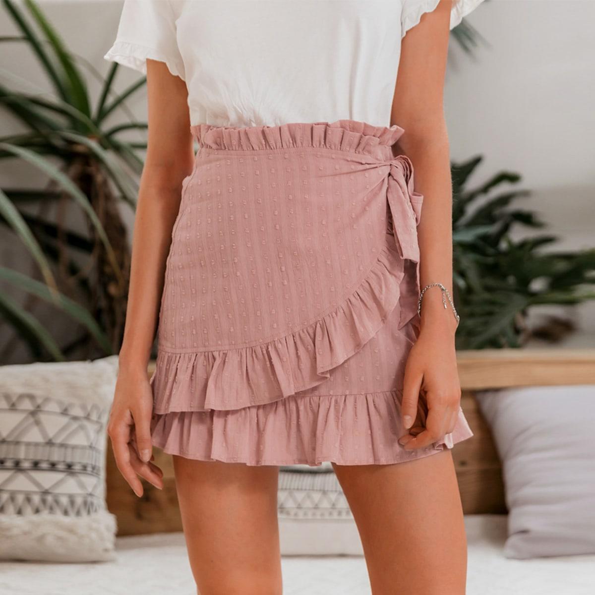 юбка с узлом, оборками и складкой