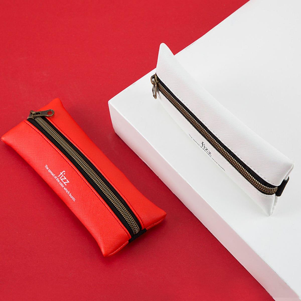 1pc Slogan Graphic PU Pencil Case
