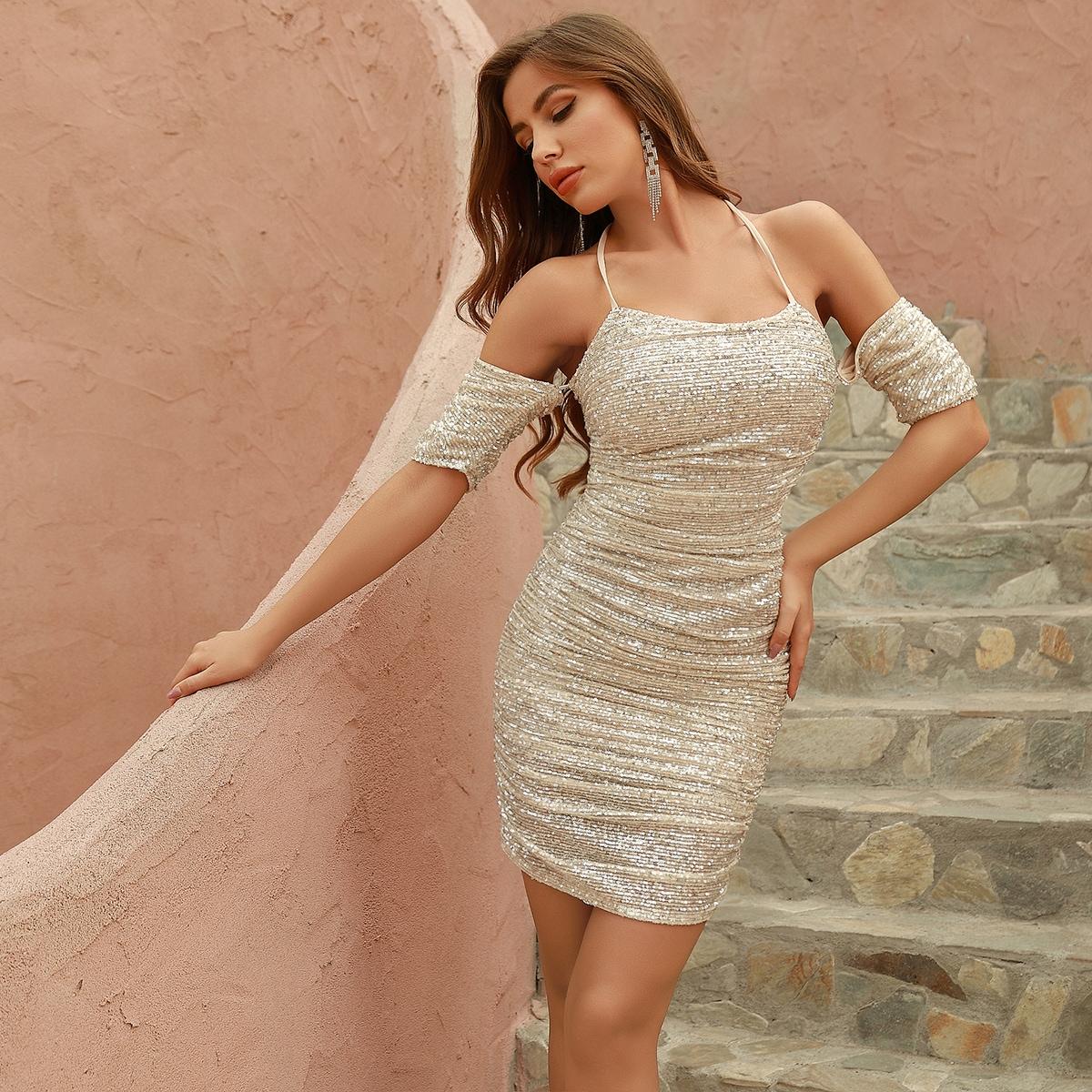 DKRX блестящее платье-халтер с разрезом на плечами и складкой