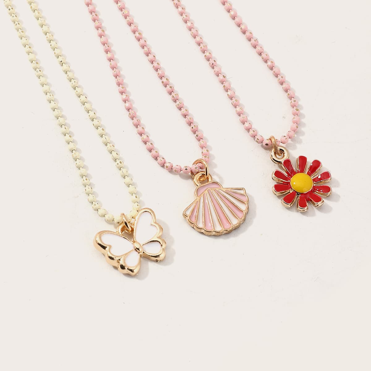 3pcs Toddler Girls Shell & Butterfly Charm Necklace