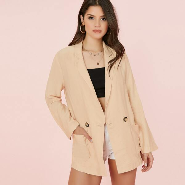Double Breasted Boxy Fit Linen Blazer, Beige