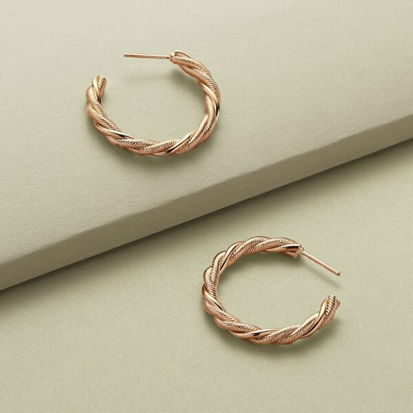 1pair Small Open Twist Hoop Earrings, Gold