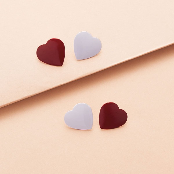 2pairs Heart Shaped Stud Earrings, Multicolor