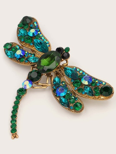 1pc Rhinestone Engraved Dragonfly Design Brooch