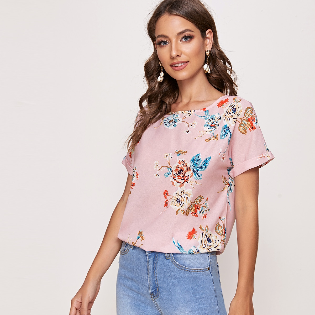 Floral Print Rolled Cuff Curved Top