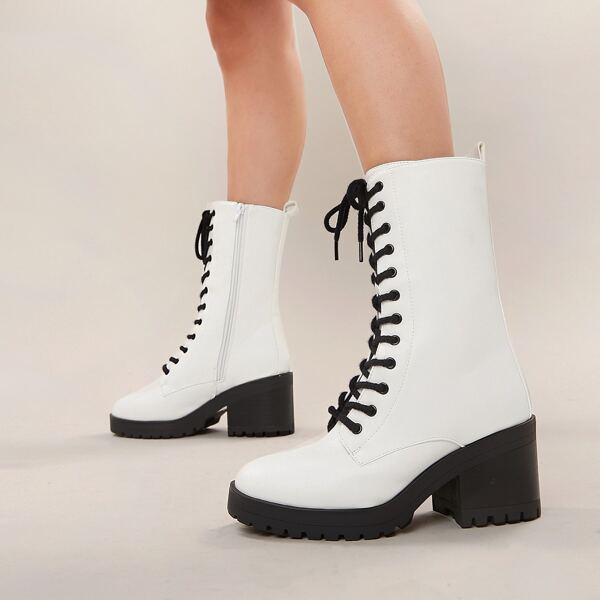 Lace Front Lug Sole Block Heel Military Boots, White