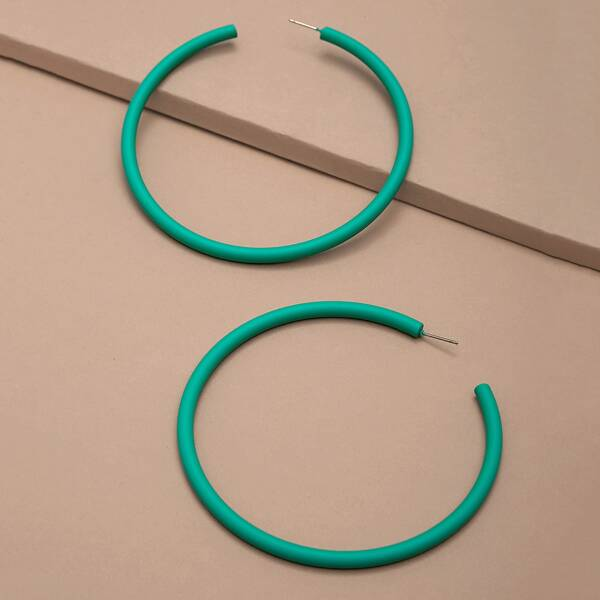 1pair Extra Large Hoop Earrings, Green