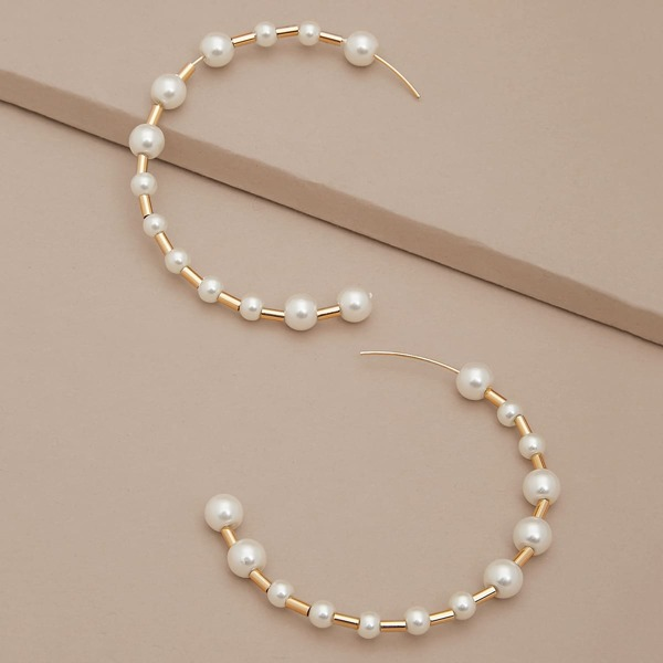 1pair Varied Size Pearl Detail Hoop Earrings, White