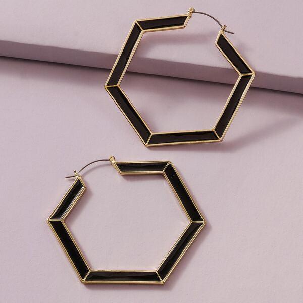 1pair Hexagon Hoop Earrings, Black