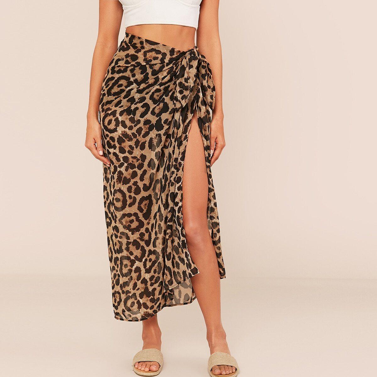 Split Thigh Tie Side Leopard Skirt, SHEIN  - buy with discount