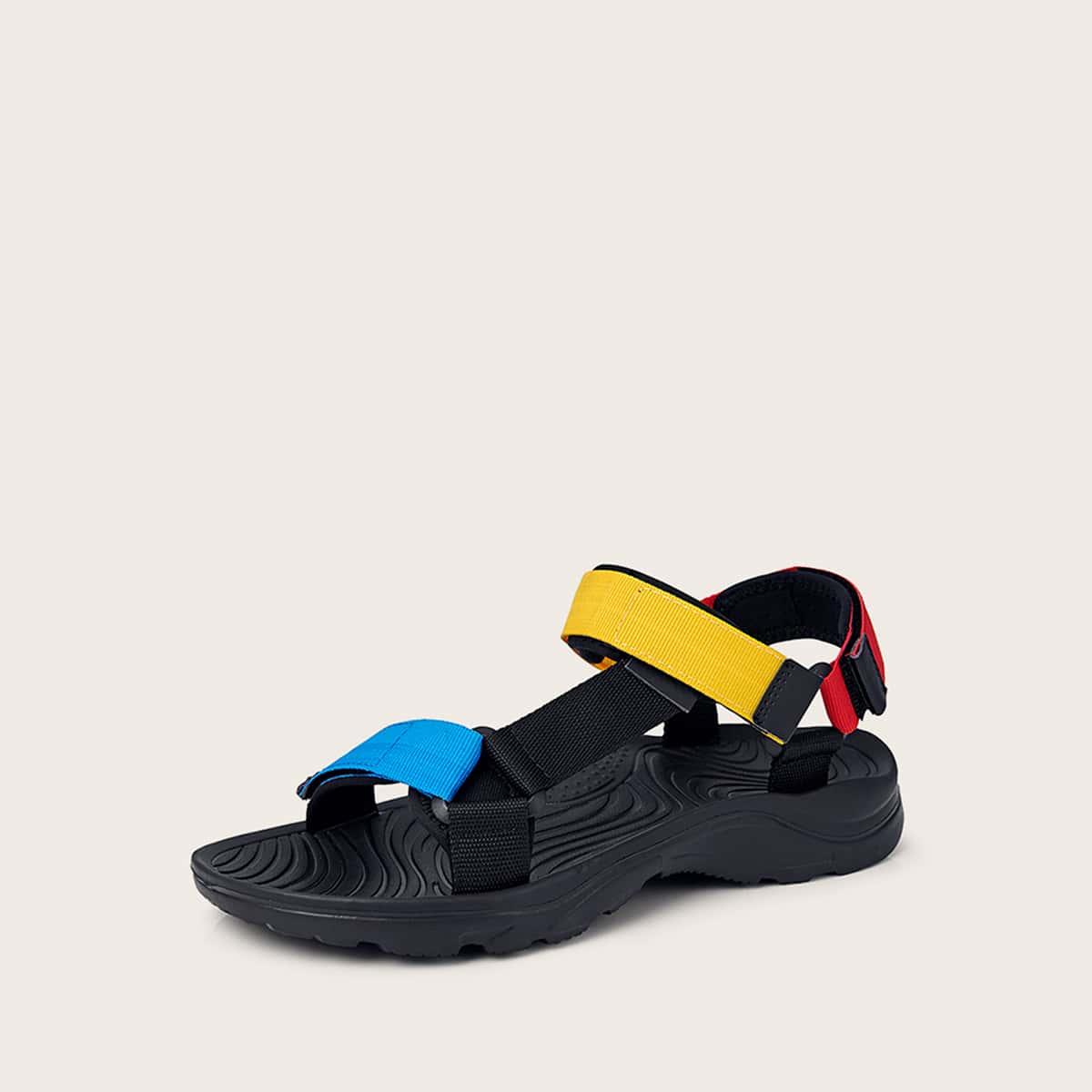 Мужские контрастные сандалии на липучке