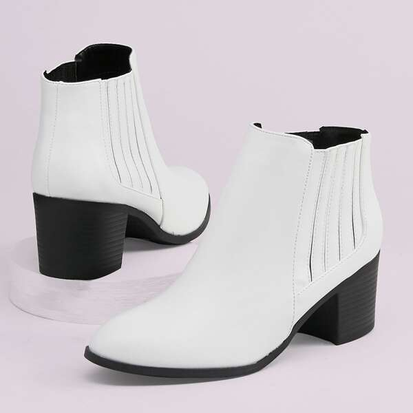 Almond Toe Side Goring Stacked Heel Booties, White
