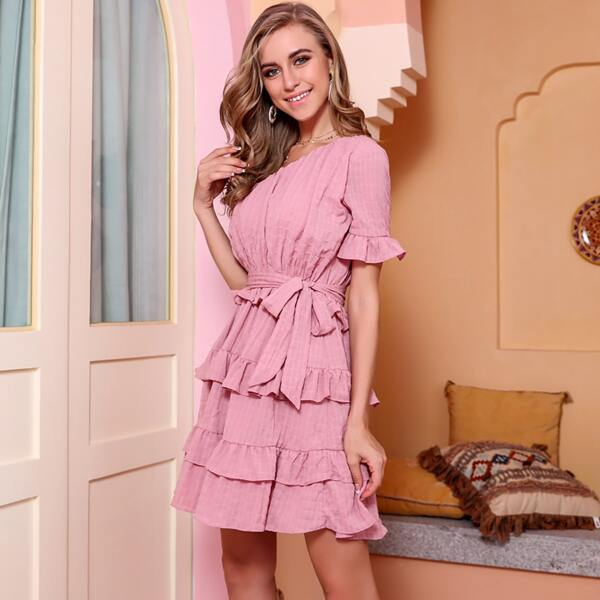 Missord One Shoulder Layered Ruffle Belted Dress, Pink