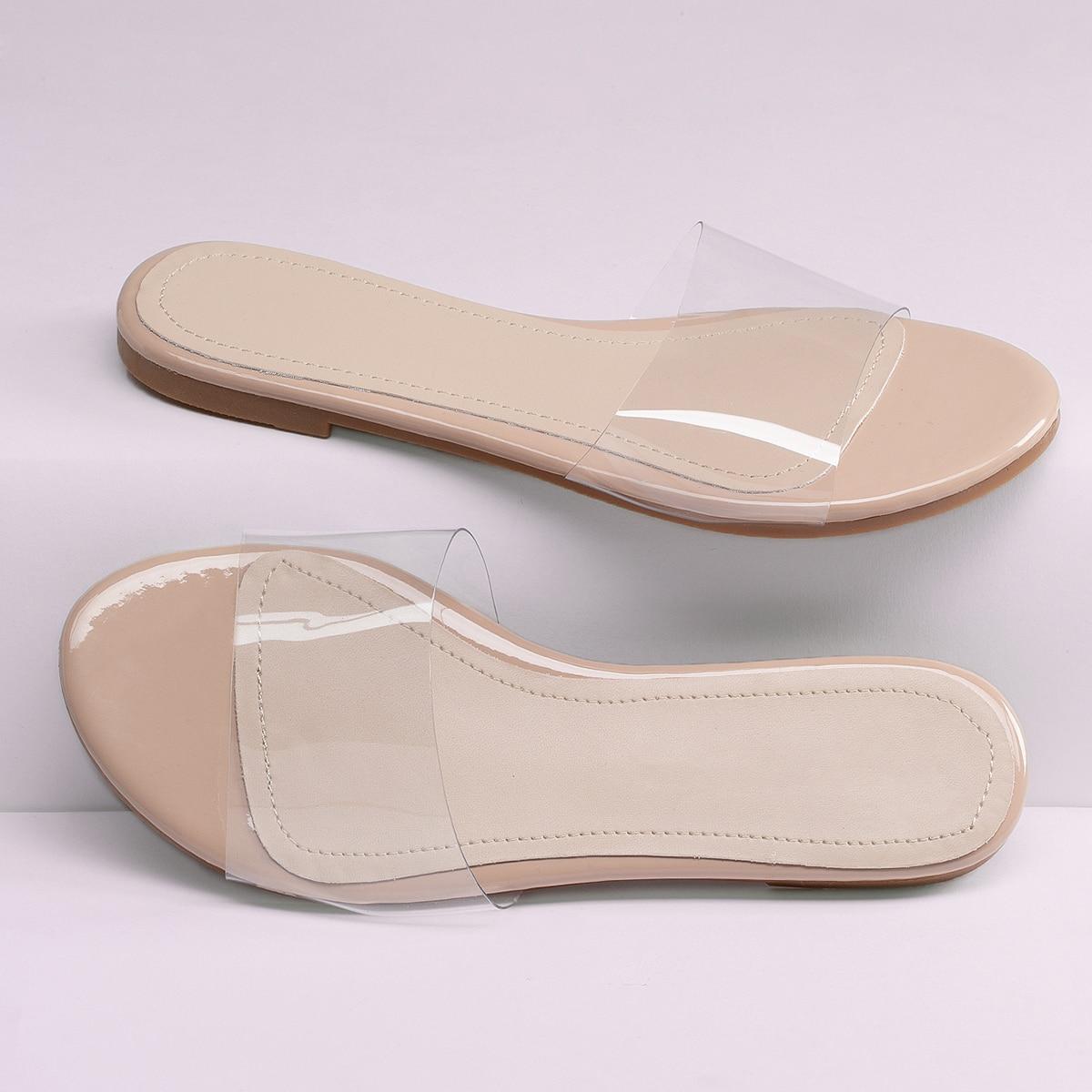 Прозрачные сандалии на плоской подошве