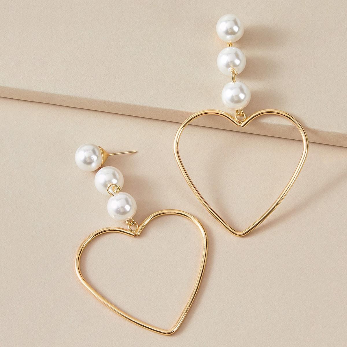 1 Paar Herz förmige Tropfenohrringe mit Perlen Dekor