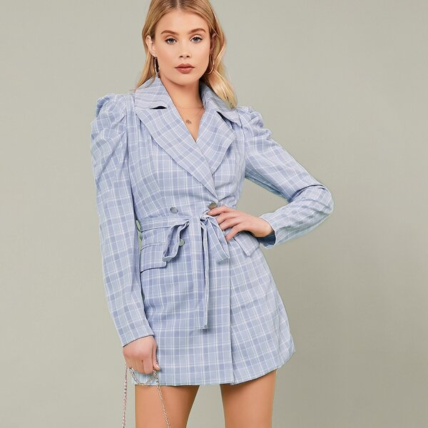 Double Breasted Long Sleeve Plaid Blazer Dress, Blue