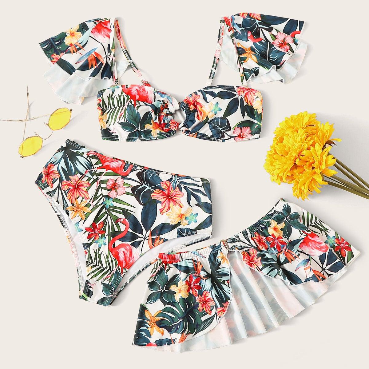 Тропическая пляжная юбка и бикини с открытыми плечами 3 пакета